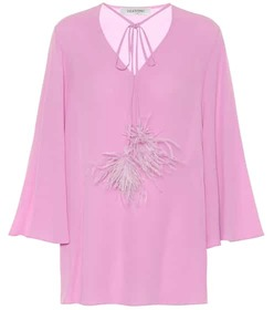 Valentino Feather-trimmed silk-crêpe blouse