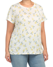 C&C CALIFORNIA Plus Short Sleeve Lemon Print Linen