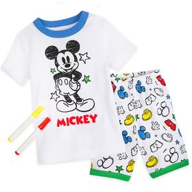 Disney Mickey Mouse Colorable Pajama and Marker Se