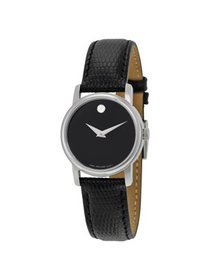 Movado Museum Black Dial Black Leather Strap Ladie