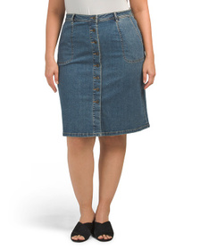 VINCE CAMUTO Plus Denim A-line Button Front Skirt