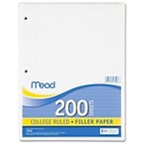 Filler Paper, College Ruled, 3 Hole Punched, 16 lb