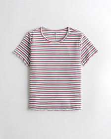 Hollister Must-Have Baby Tee, WHITE STRIPE