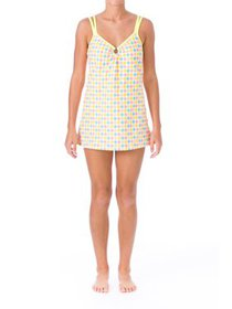 Mainstream Womens Argyle Tankini Swimdress Yellow