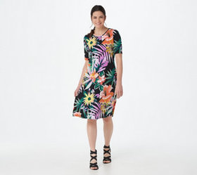 Susan Graver Printed Liquid Knit Elbow-Sleeve Dres