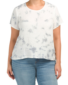 C&C CALIFORNIA Plus Tie Dye Scoop Neck Linen Top