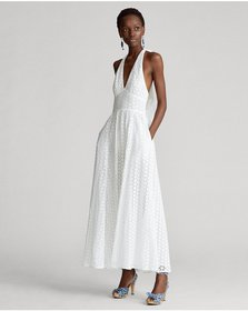 Ralph Lauren Eyelet Cotton Halter Dress