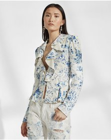 Ralph Lauren Mitchell Floral Leather Jacket