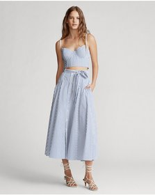 Ralph Lauren Striped Cotton A-Line Skirt