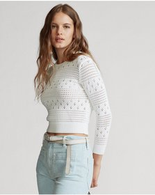Ralph Lauren Cropped Pointelle Knit Top