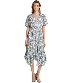 Tahari by ASL Smocked Tea Length Dress