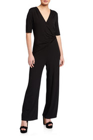 NIC+ZOE Petite Eaze Twist Short-Sleeve Jumpsuit