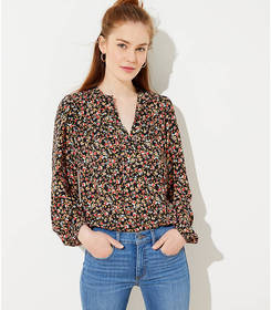 Petite Floral Shirred Split Neck Blouse