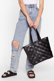 Nasty Gal Black WANT Weave Only Just Begun Tote Ba