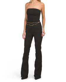 TRUE RELIGION Flare Jumpsuit With Chain Belt
