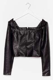 Nasty Gal Black Faux Leather Say Faux Leather Crop