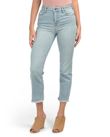 TRUE RELIGION High Waist Cropped Jeans With Frayed