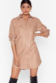 Nasty Gal Nude Shirt a Little Maybe Faux Leather M