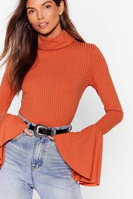 Nasty Gal Rust Flare to Dream Turtleneck Sweater