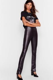 Nasty Gal Black Slit the Floor Faux Leather High-W