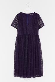 Nasty Gal Navy Lace Make Up Our Mind Plus Midi Dre