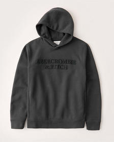 The A&F Perfect Popover Logo Hoodie, BLACK