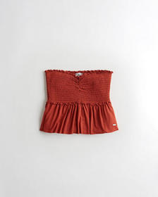 Hollister Smocked Peplum Tube Top, RUST
