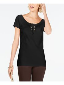 INC Womens Black Short Sleeve Scoop Neck T-Shirt T