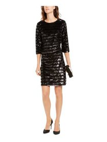 INC Womens Black 3/4 Sleeve Jewel Neck Above The K