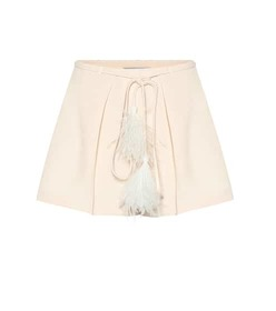Valentino Feather-trimmed wool and silk shorts