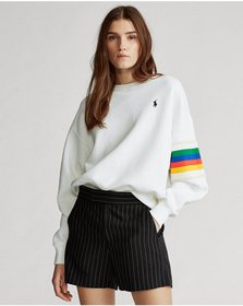 Ralph Lauren Rainbow-Trim Fleece Sweatshirt