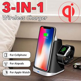 3 IN 1 Qi Wireless Charger Pad Fast Charging Dock