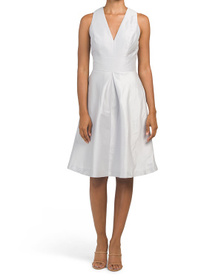 ALFRED SUNG V Neck Dupioni Cocktail Dress With Poc