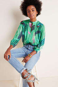 Anthropologie Adeline Paint-Swiped Blouse
