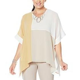 """As Is"" WynneLayers Colorblocked V-Neck Poncho"