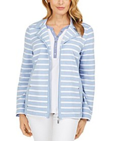 Striped Notched-Lapel Sweatshirt, Created for Macy