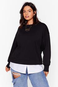 Nasty Gal Black Chill Next Time Plus Relaxed Sweat
