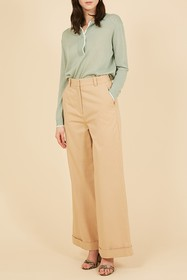 FRNCH Solid Wide Leg Pants