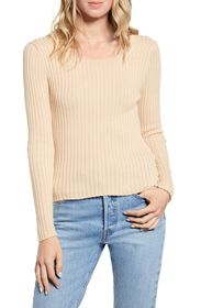 GOOD LUCK GEM Ribbed Square Neck Top