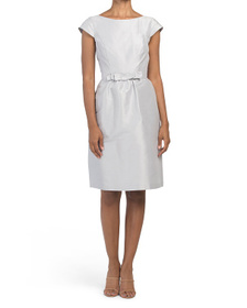 ALFRED SUNG Cap Sleeve Dupioni Cocktail Dress