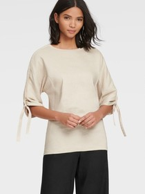 Donna Karan CREW NECK TOP WITH LOGO RIBBON