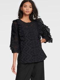 Donna Karan THREE QUARTER LENGTH SLEEVE RUFFLE BLO