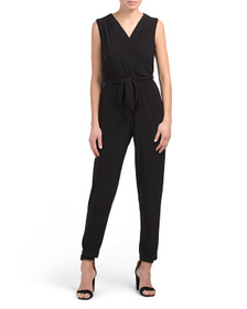 Made In Usa Petite Faux Wrap Jumpsuit