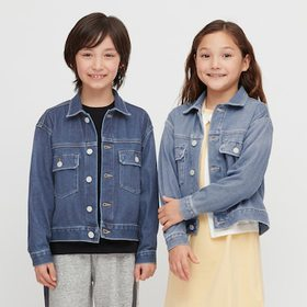 Kids Denim Jersey Jacket, Blue, Medium