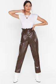 Nasty Gal Chocolate Paperbag At It Faux Leather Pa