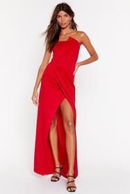 Nasty Gal Red A Night To Remeber Strapless Maxi Dr