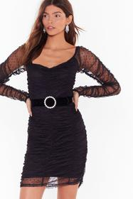 Nasty Gal Black Sheer for You Ruched Mini Dress