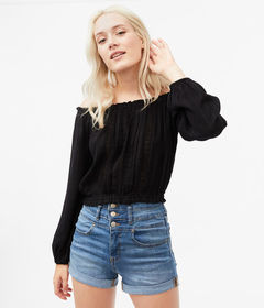 Aeropostale Crocheted Off-The-Shoulder Top