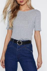 Nasty Gal Black Faux Leather Belt with Circle Buck