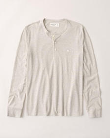Long-Sleeve Icon Henley, CREAM